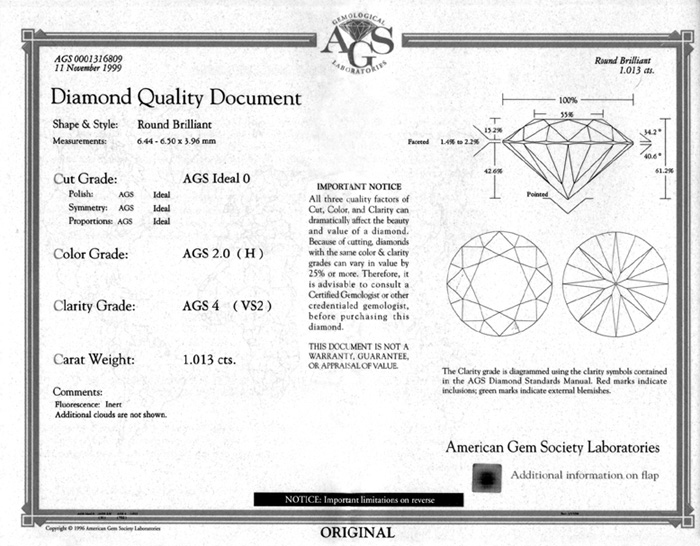 Jcrs Diamonds Diamond Certrificates