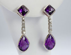 Palladium and amethyst earrings